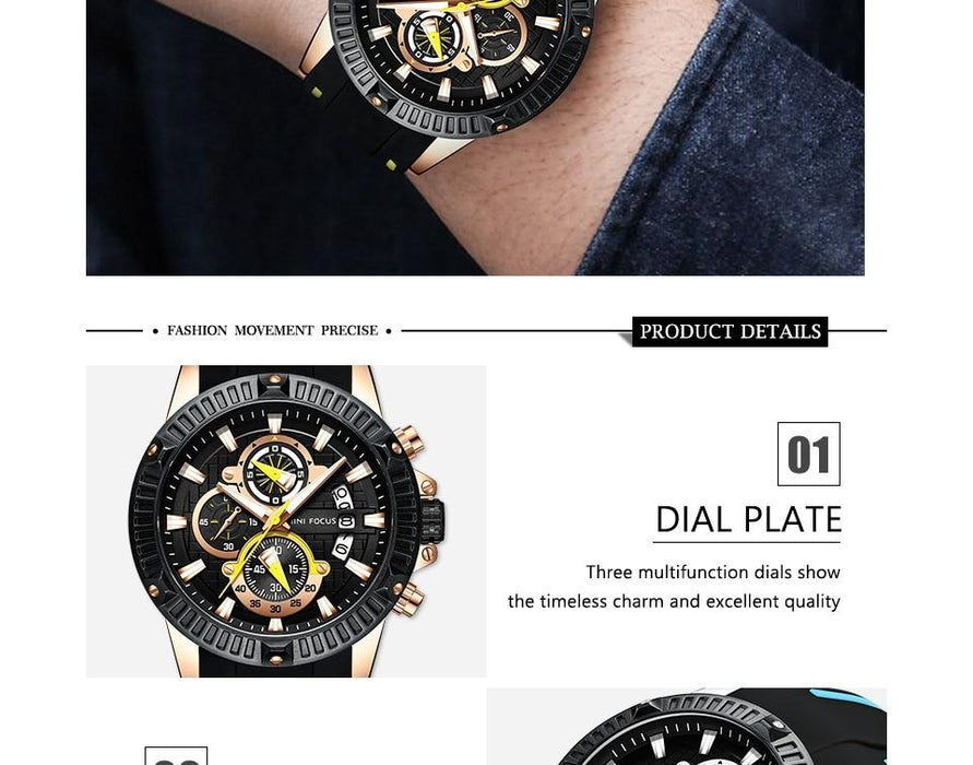 Men's Fashion Silicone Military Sports Analog Date Quartz Watches - SolaceConnect.com