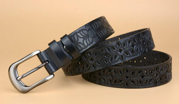 Casual Fashion Women's Solid Real Cow Leather Hollow Out Straps Belt - SolaceConnect.com