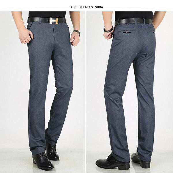 Big Size Men's Formal Business Straight Suit Pants Trousers for Summer - SolaceConnect.com