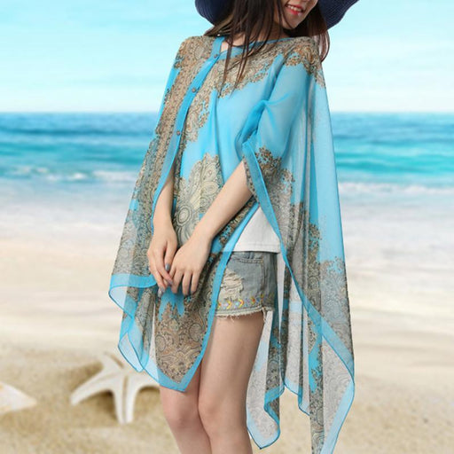 Women Scarf Shawl Poncho Printed Sunscreen Scarf Sun Protection Shawl Beach Shawl Bikini Cover - SolaceConnect.com