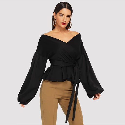 Lantern Sleeve Off Shoulder Blouse for Women Elegant Sexy Autumn Top - SolaceConnect.com