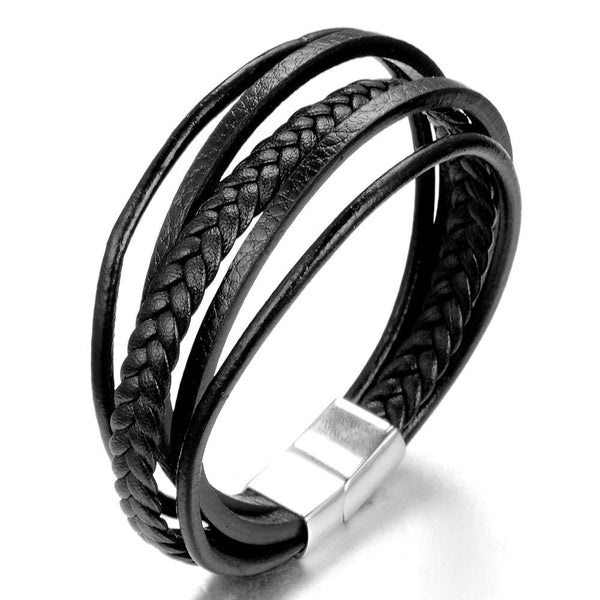 Punk Cool Fashion Charm Men's Genuine Leather Rope Chain Bracelets Jewelry - SolaceConnect.com