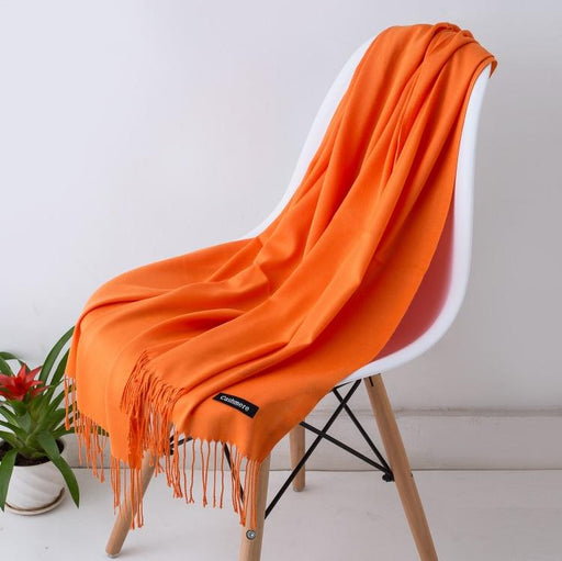 Winter Autumn Unisex Solid Color Cashmere Long Scarves Scarf with Tassel - SolaceConnect.com