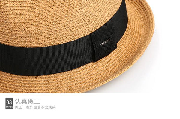 Men's Adult Casual Sunshade Leisure Straw Panama Paper Grass Cap Summer Hat - SolaceConnect.com
