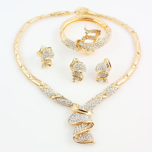 Fashion Gold Color Alloy Rhinestone Wedding Jewelry Sets Necklace Bracelet Ring Earrings For Women - SolaceConnect.com