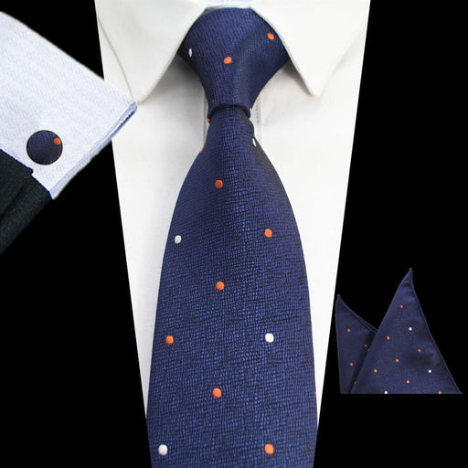 8cm Tie Sets Men Plaid & Dot & Paisley Tie Handkerchief Cufflinks Sets Business Wedding Party Neck - SolaceConnect.com