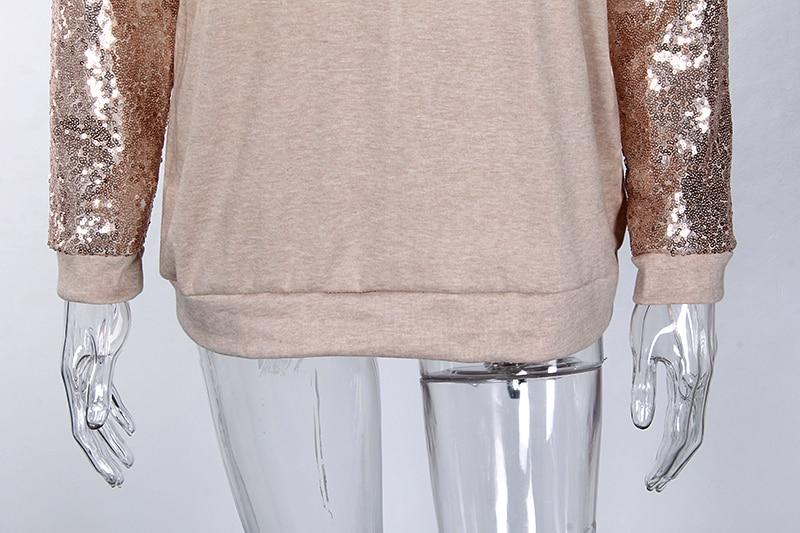 Casual Spring Sequined Loose O-Neck T-Shirt with Long Sleeve for Women - SolaceConnect.com