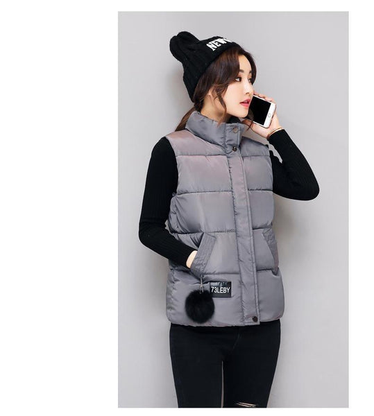 Winter Women's Lightweight Cotton Padded Slim Short Sleeveless Vests Jacket - SolaceConnect.com