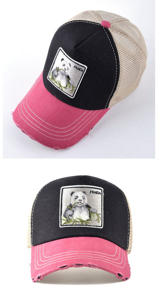 Hip Hop Unisex Panda Embroidery Breathable Mesh Sun Hats Baseball Caps - SolaceConnect.com