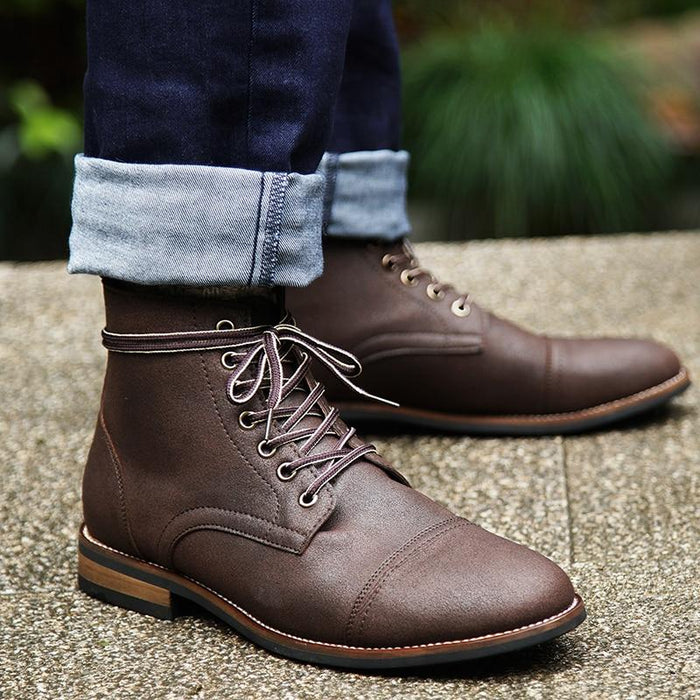 Masorini Men Pu Leather Lace-up Men Shoes High Quality Men Vintage British Military Boots Autumn - SolaceConnect.com