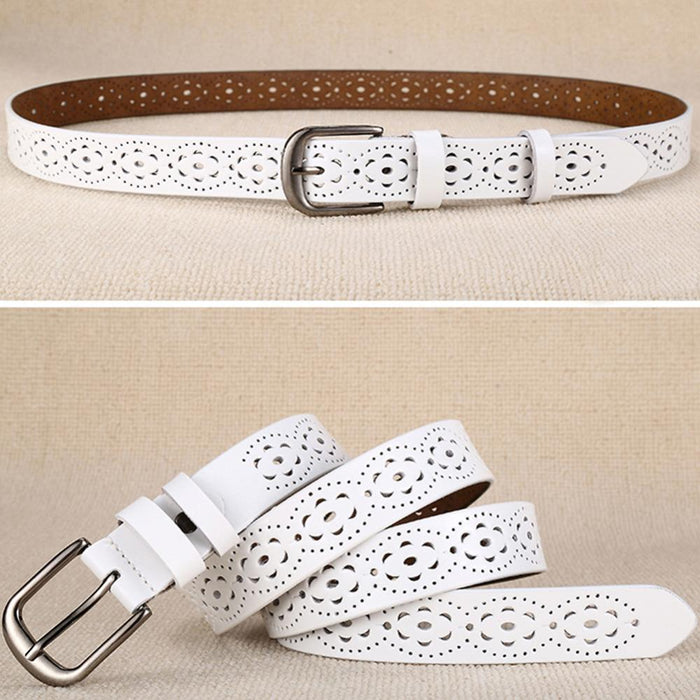 Luxury Women's without Drilling Hollow Genuine Leather Straps Wide Belt - SolaceConnect.com