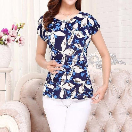 Summer Boat Anchor Printed Silk Casual Top T-Shirt for Women - SolaceConnect.com