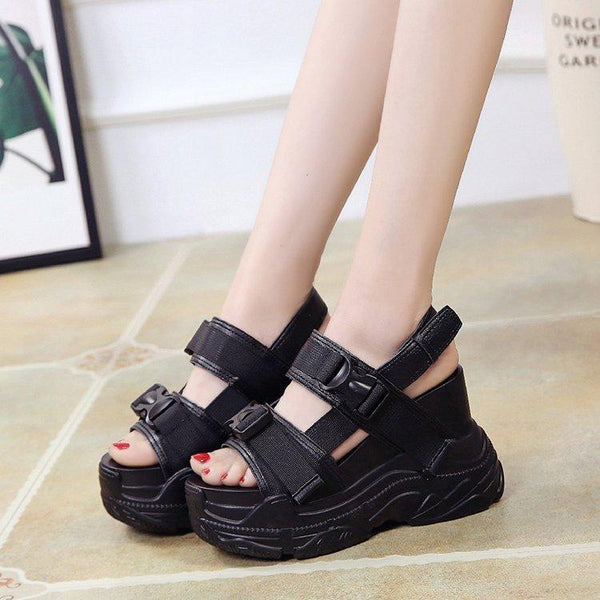 Women's Summer White High Heeled Thick Bottom Wedges Sandals Platform Shoes - SolaceConnect.com