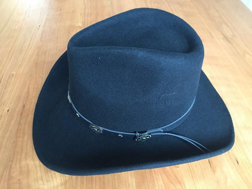 Classic Black Wool Cowboy Hondo Crown Solid Unisex Novelty Hat - SolaceConnect.com