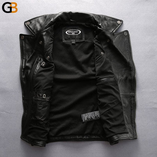 HA-102 Mens Cool Rider Cow Leather Waistcoat Genuine Cowhide Motorcycle Stylish Vest - SolaceConnect.com
