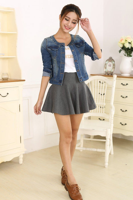 Spring Plus Size Long Sleeve O-Neck Short Jeans Denim Jacket for Women - SolaceConnect.com