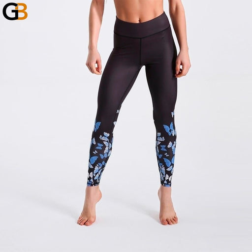 Spring Leggings Black Background Butterfly Printed Leggings High Waist Long Pants Sexy Casual Pants - SolaceConnect.com