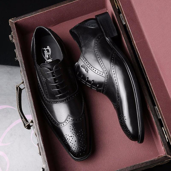 Handmade Mens Dress Shoes Genuine Leather Men Wedding Brogue Oxfords Wingtip Lace Up Burgundy Office - SolaceConnect.com