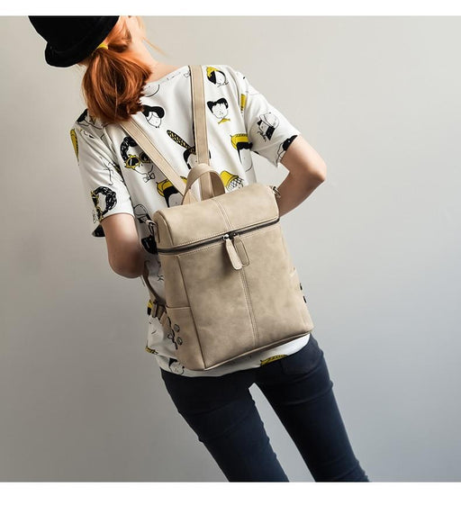 Simple Style Backpack Women PU Leather Backpacks For Teenage Girls School Bags Fashion Vintage Solid - SolaceConnect.com