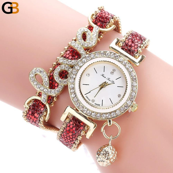 Luxury Women's Love Strap Bracelet Wrist Watches with Rhinestone - SolaceConnect.com