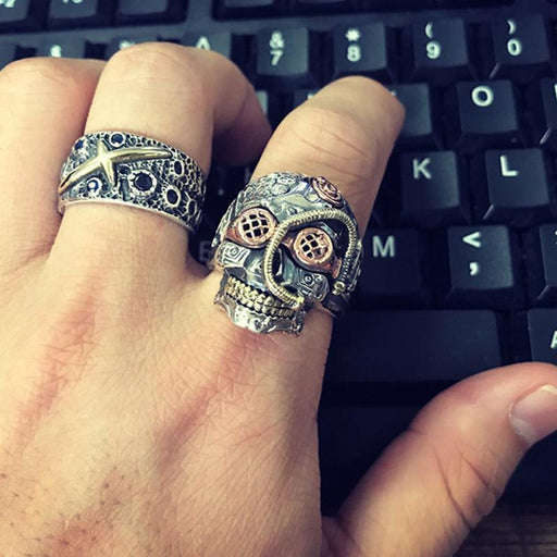 Men's Solid Sterling Silver Punk Ring Heavy Vintage Biker Skull Jewelry - SolaceConnect.com