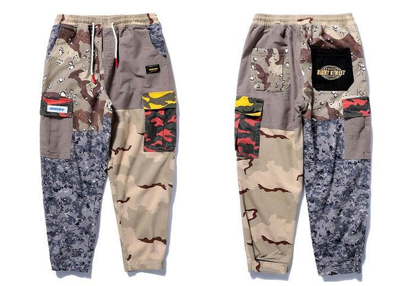Harajuku Hip Hop Pant Streetwear Men Baggy Cargo Pants Patchwork Trousers Pocket Casual Camouflage - SolaceConnect.com