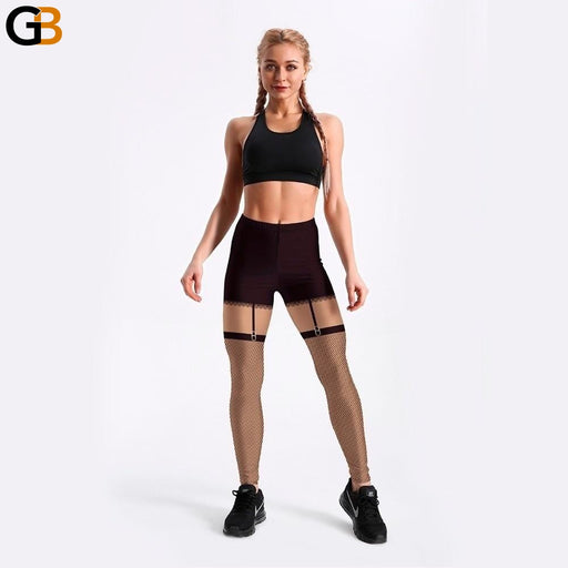 3D Digital Printed Style Black Detachable Mesh Workout Leggings for Women - SolaceConnect.com