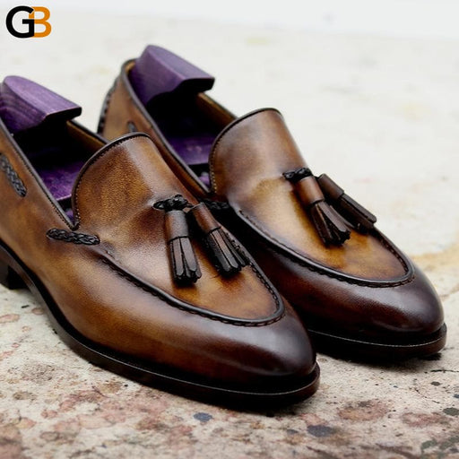 Round Toe Pure Genuine Leather Bespoke Blake Stitch Handmade Patina Brown Tassels Slip-on Men's Shoe - SolaceConnect.com