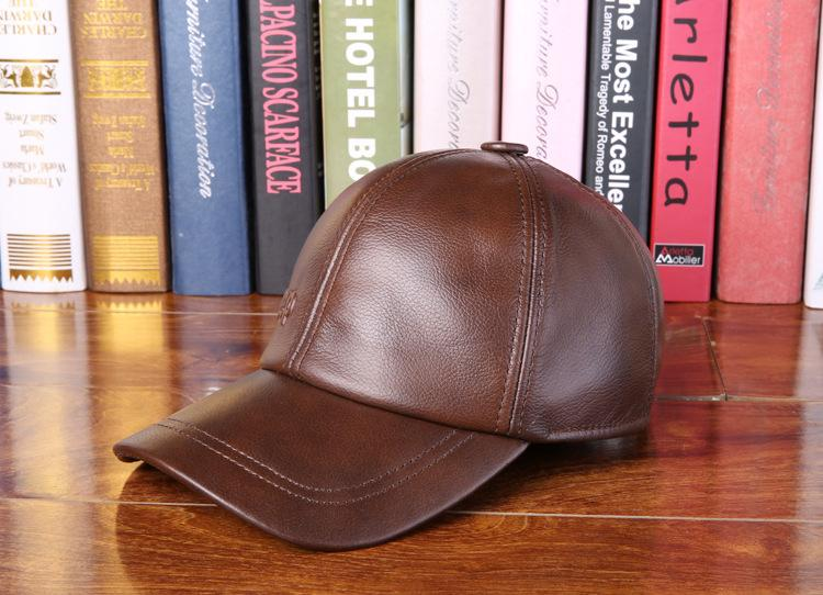 Men's Genuine Cowhide Leather Casual Autumn Winter Thermal Baseball Cap - SolaceConnect.com