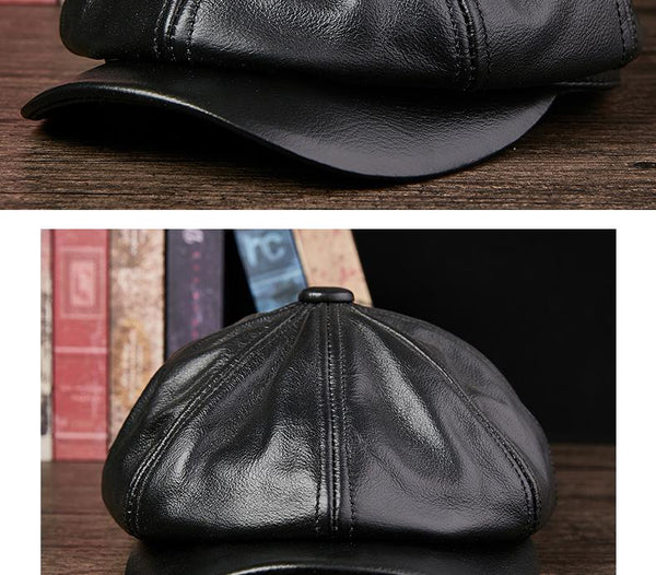 Men's Autumn Winter Warm Visors Cowboy Fashion Genuine Leather Hats - SolaceConnect.com