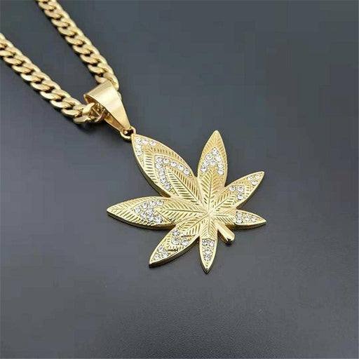 Unisex Gold Stainless Steel European Hemp Leaf Rhinestones Pendant Necklace - SolaceConnect.com
