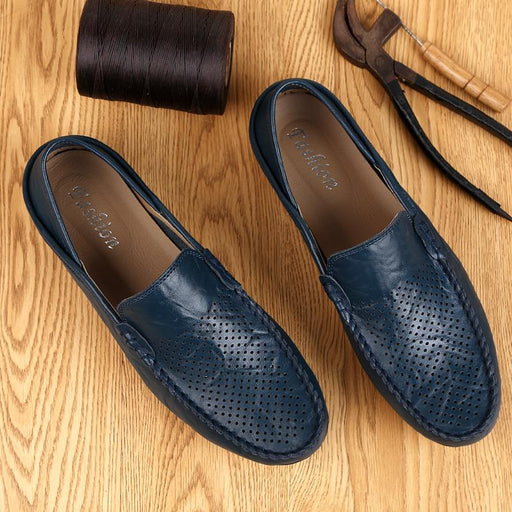 Men's Casual Light Breathable Italian Luxury Genuine Leather Moccasins - SolaceConnect.com