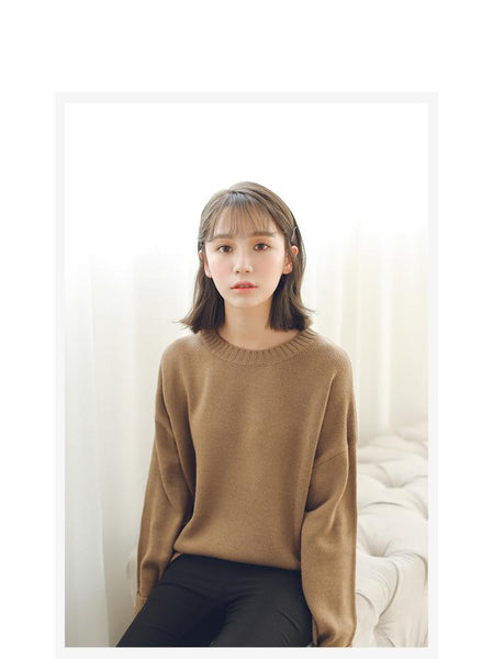 All Match Casual Basic Solid O-neck Long Sleeve Loose Female Sweaters - SolaceConnect.com