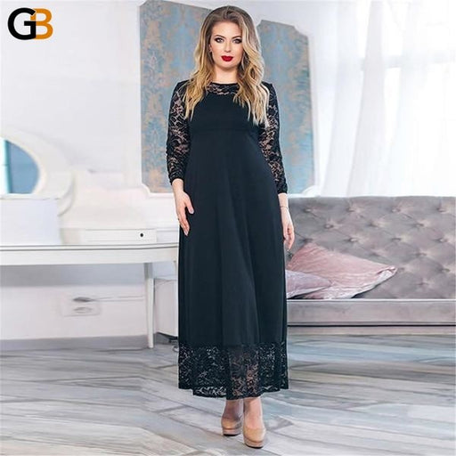 Women's Plus Size Long Sleeve Loose Autumn Winter Dress with Patchwork - SolaceConnect.com