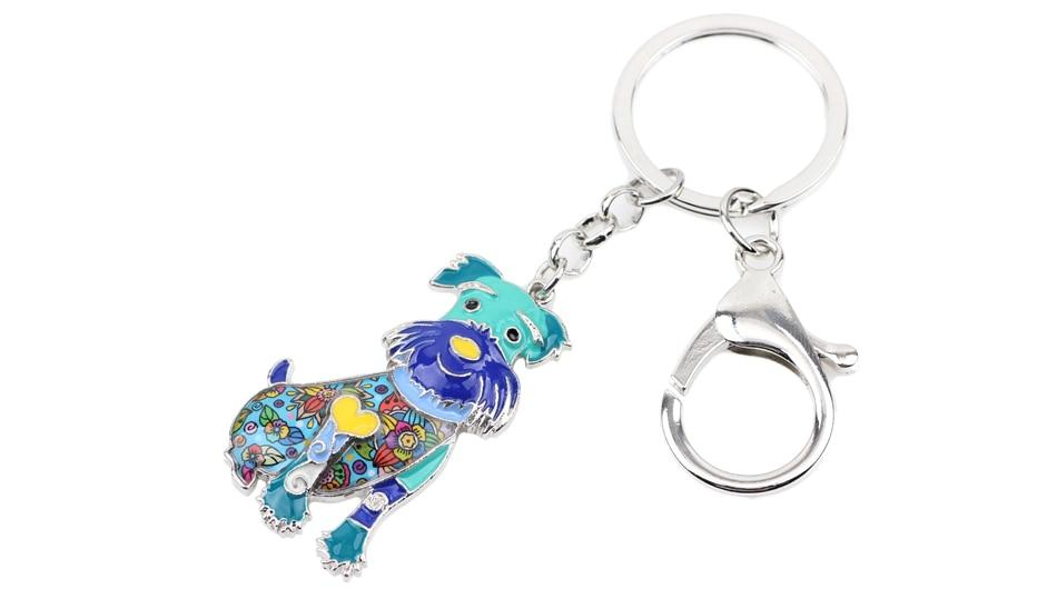 Charms Schnauzer Dog Animal Enamel Key Chains Keyrings for Women & Men - SolaceConnect.com