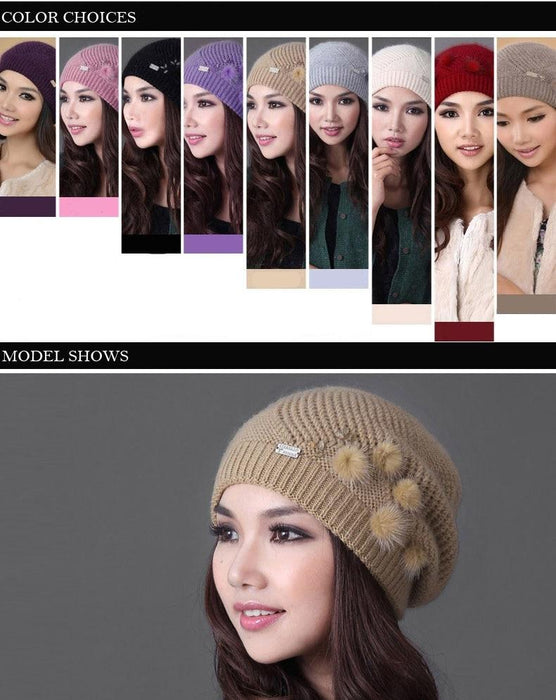 Women's Winter Elegant Rabbit Hair Casual Double Layer Knitted Wool Caps - SolaceConnect.com