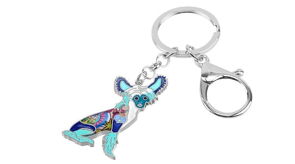 Chinese Crested Dog Animal Alloy Enamel Key Chains Jewelry for Women - SolaceConnect.com