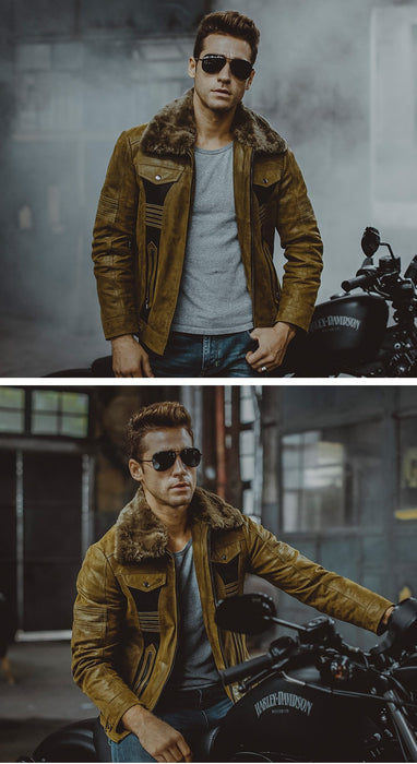 3 Colors Men's Pigskin Leather Motorcycle Winter Jackets with Fur Collar - SolaceConnect.com