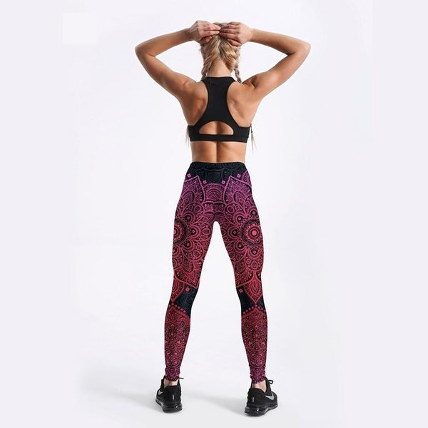 Summer Sexy Women Leggings Rosy Floral Printed Leggings Fitness Workout Leggings Cute Pants - SolaceConnect.com