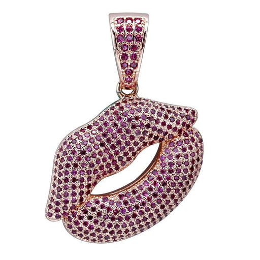 High Quality Iced Out Lips Pendant Chain Purple Zircon Hip Hop Necklace - SolaceConnect.com