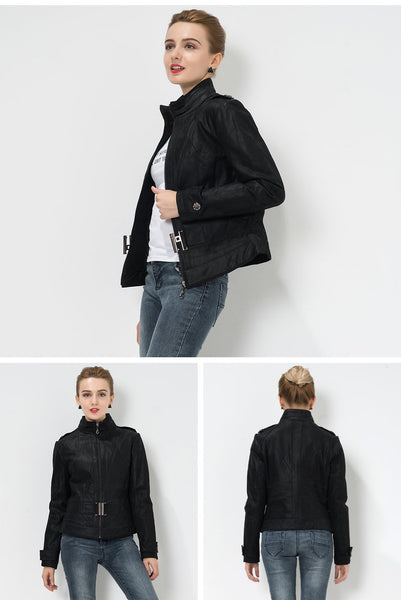 Women's Pigskin Real Slim Genuine Leather motorcycle jacket with belt - SolaceConnect.com