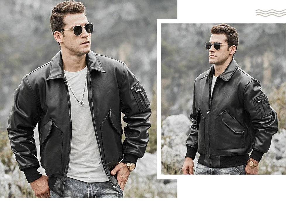 Men's Real Lambskin Leather Winter Warm Air Force Aviator Bomber Jacket - SolaceConnect.com