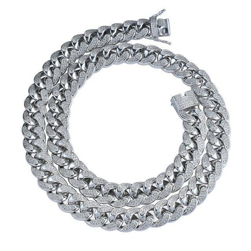Iced Out Bling Cuban Chain Men's Necklace Cubic Zirconia Hip Hop Jewelry - SolaceConnect.com