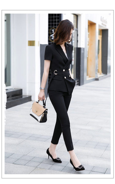 Summer Fashion Women's Short Sleeves Blazer and Pants Suits with Belt - SolaceConnect.com