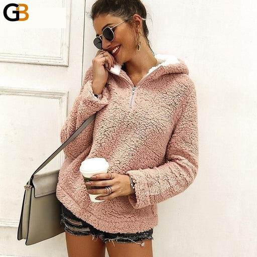 Fluffy Zipper Hoodies Women Winter Autumn Pink Loose Sweatshirt Turtleneck Streetwear Pullover - SolaceConnect.com