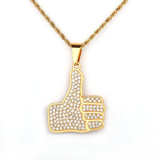 Personality Thumbs Pendant Necklace Charm Alloy Gold Color Iced Rhinestone BlingBling Men's Hip Hop - SolaceConnect.com