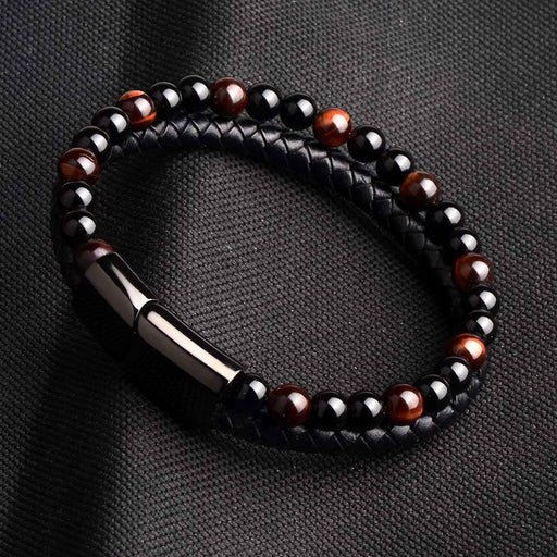 Fashion Men Jewelry Natural Stone Genuine Leather Bracelet Black Stainless Steel Magnetic Clasp - SolaceConnect.com