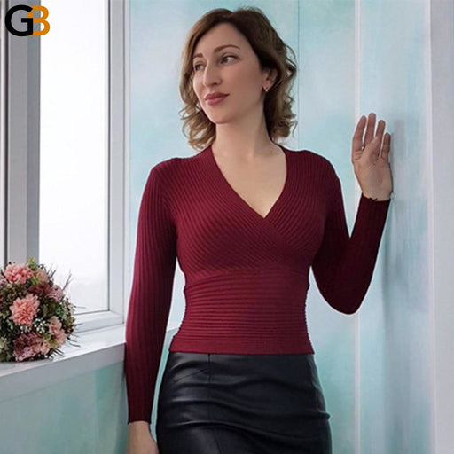 Cashmere Knitted V-Neck Sexy Women's Pullover and Sweater for Winter - SolaceConnect.com