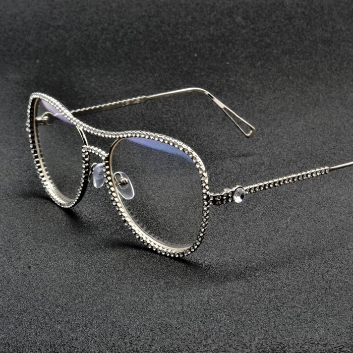 Luxury Fashion Diamond Metal Shades Clear Lens Female Sunglasses - SolaceConnect.com
