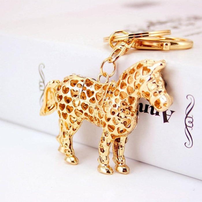 Unique Crystal Horse Rhinestone Pendant Metal Key Chains for Handbag - SolaceConnect.com